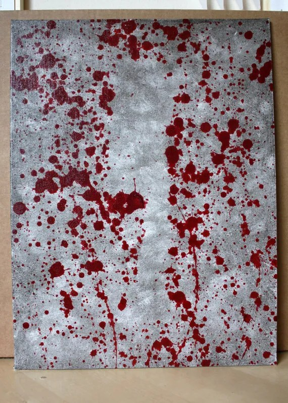Items Similar To Blood Spatter Acrylic Painting Cleaver