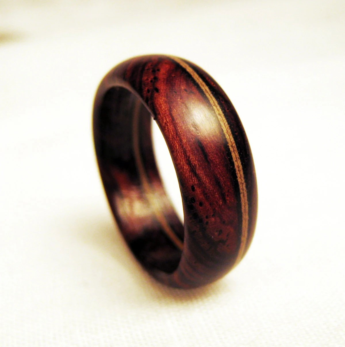 Wood Band Ring Offset Mahogany Veneer Within Cocobolo