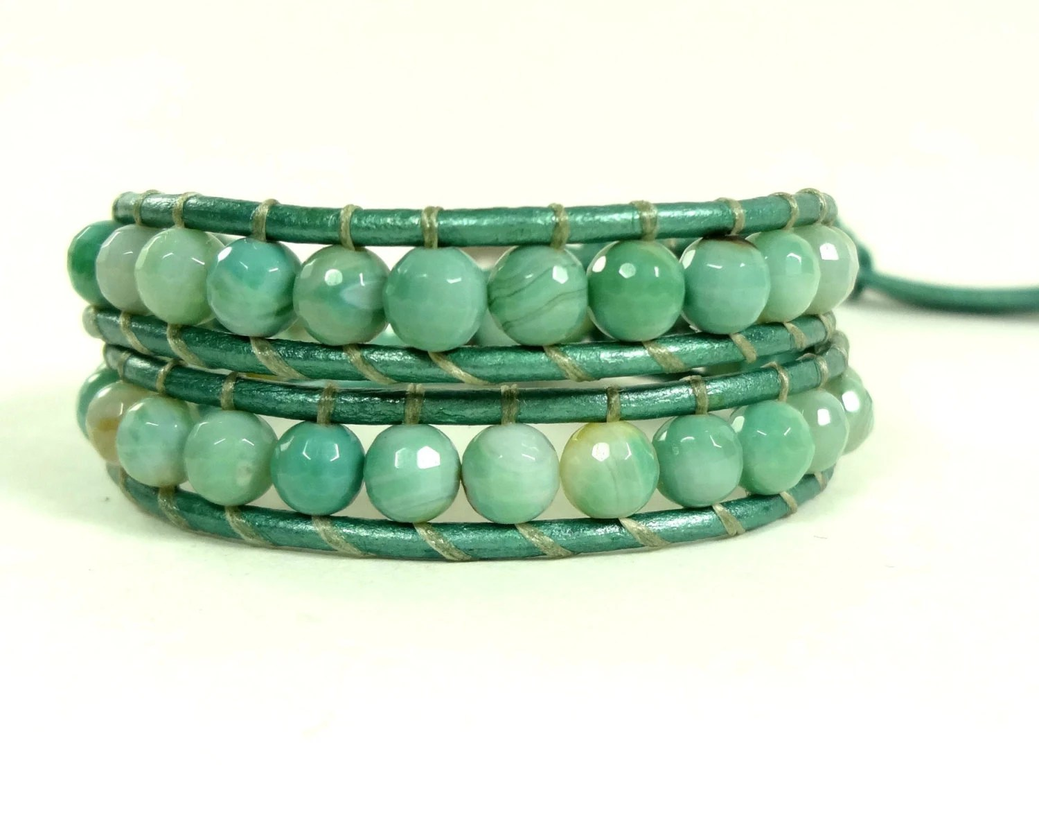 Agate Double Leather Wrap Bracelet by Wrapology