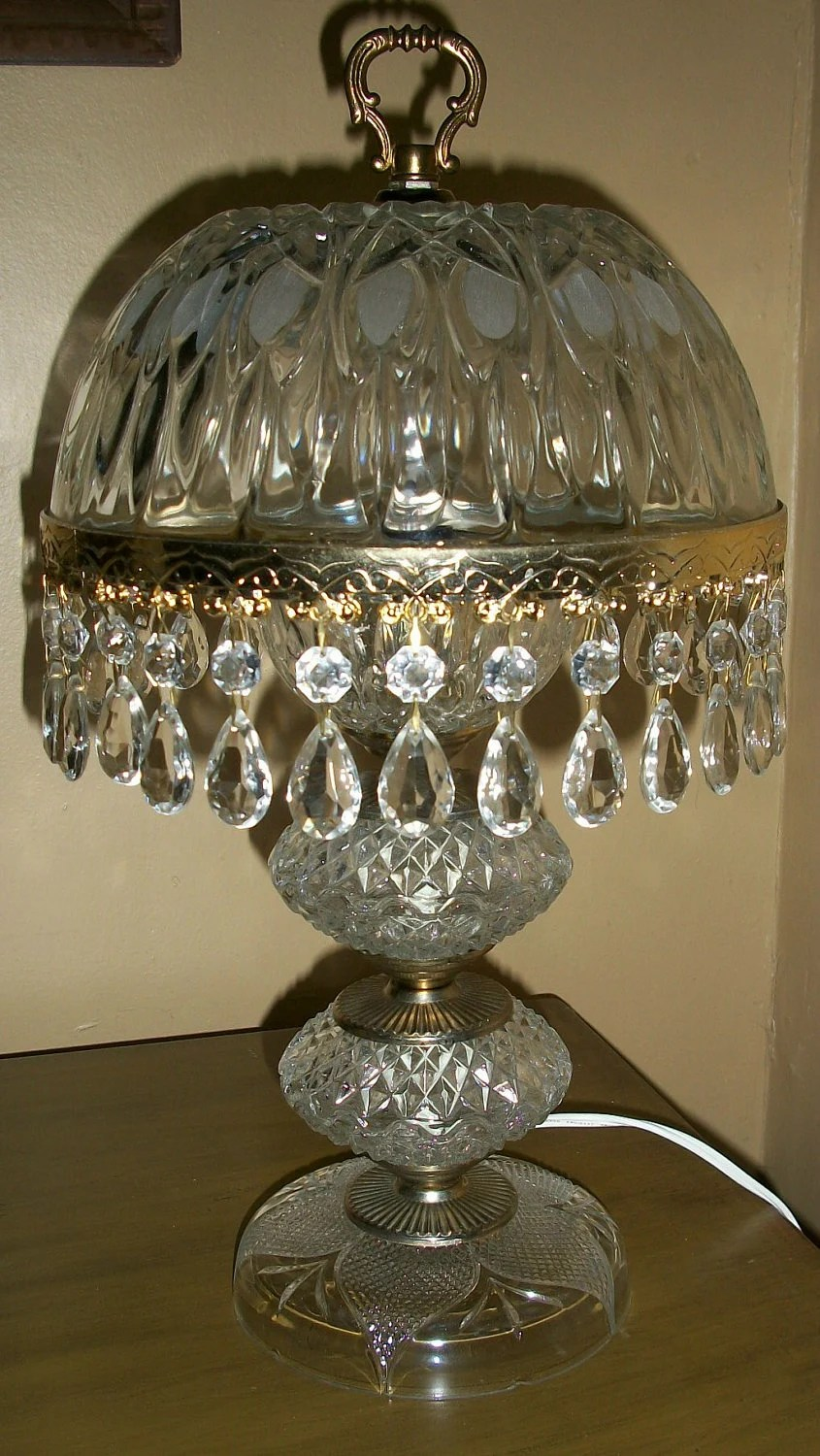Vintage Table Lamp Diamond Cut Clear Glass By