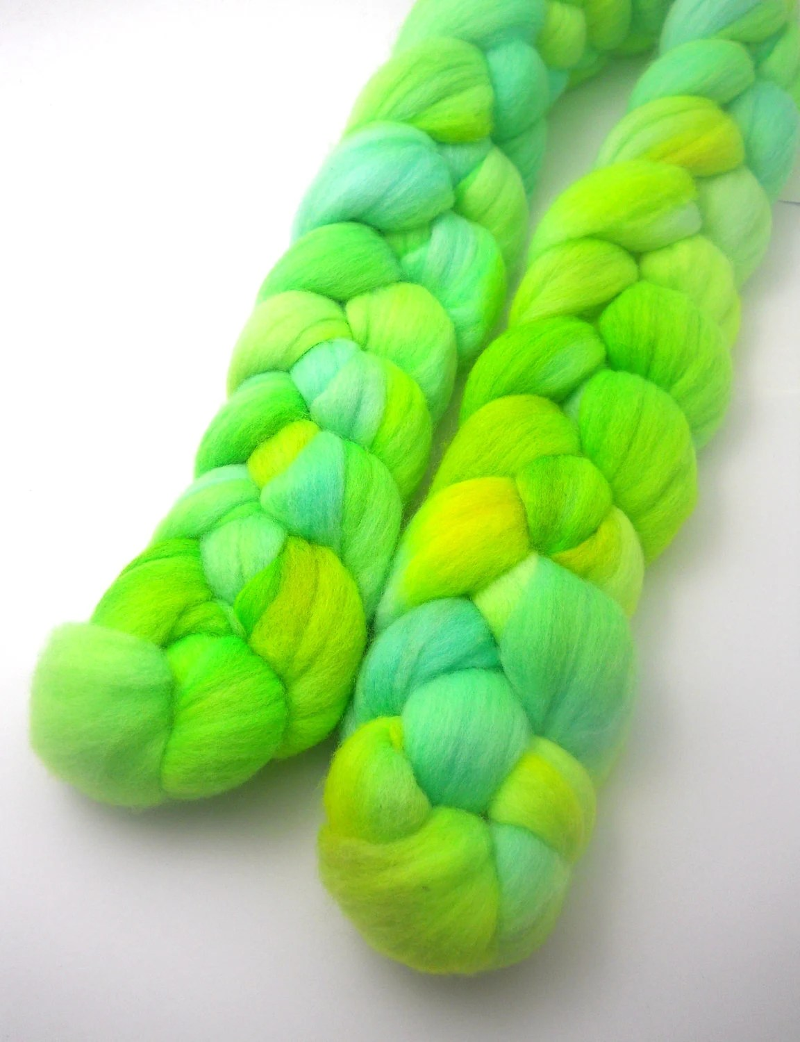 Bright Neon Green Merino Roving 4 oz
