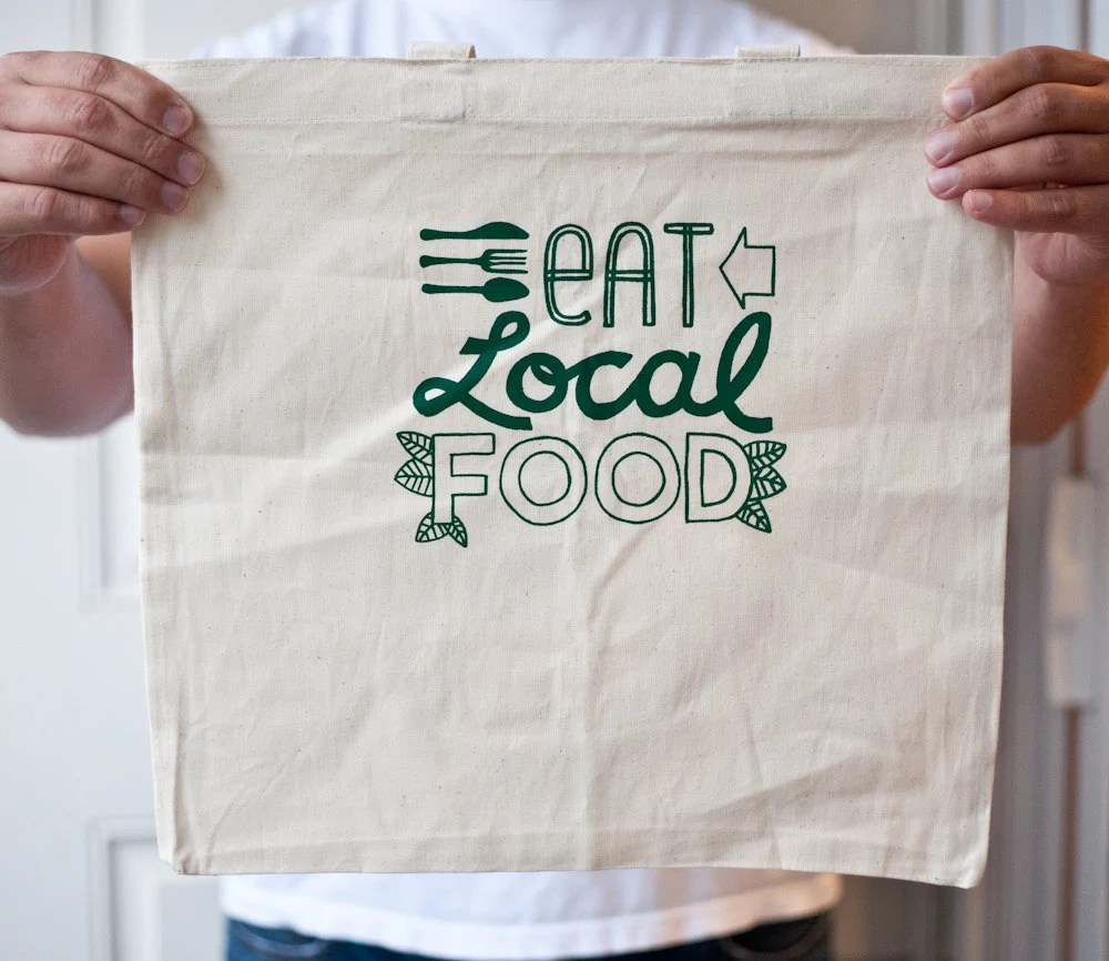 Eat Local silkscreen tote bag - exit343design