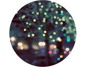 Abstract Landscape Photograph, Astral, 5x5 Print, Circle Photo,Tree, Night, Bokeh Lights, Sparkly, Blue - ellemoss