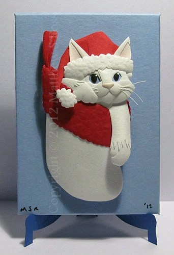 White Kitten in a Stocking Cat ACEO Christmas Mini Paper Sculpture M Ross