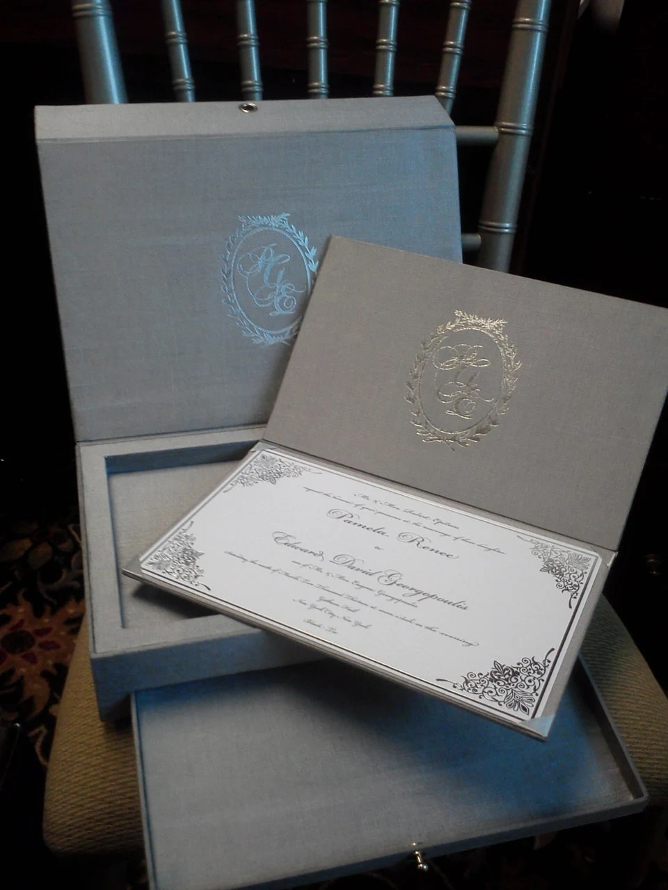 Deposit For Silver Engraved Mirror Box Invitation Suite
