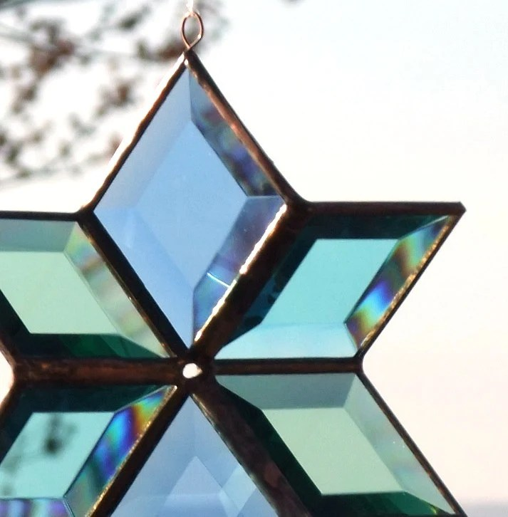 3D Aqua and Copper Stained Glass Star Suncatcher - SNLCreations