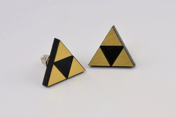 Triforce Stud Earrings - Legend of  Zelda -  Laser Engraved Acrylic - Laser Cut