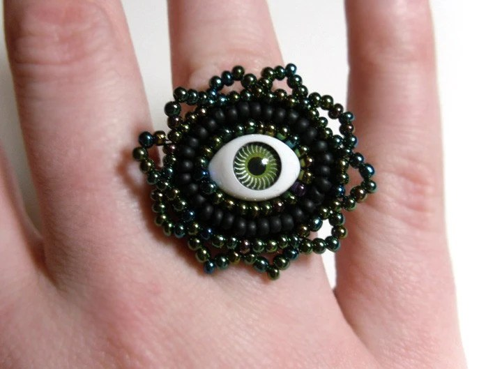 I See You - Evil Eye ring on Green and Black Adjustable Bead Embriodered - MegansBeadedDesigns