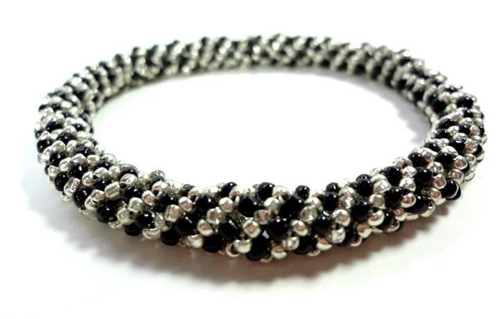 Black and Silver Beaded Bangle Bracelet - MegansBeadedDesigns