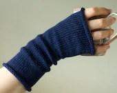 Custom Colour Wool Knitted Fingerless Gloves Wrist Warmers - rhubarbandcrumble