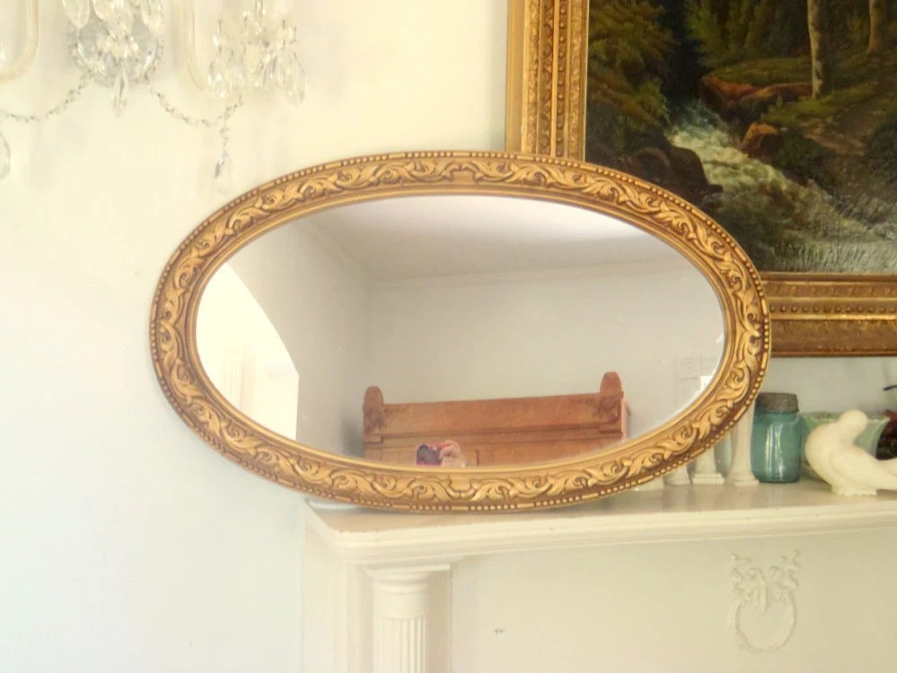 Large Vintage Long Oval Wall Hanging Mirror Gold Glamour