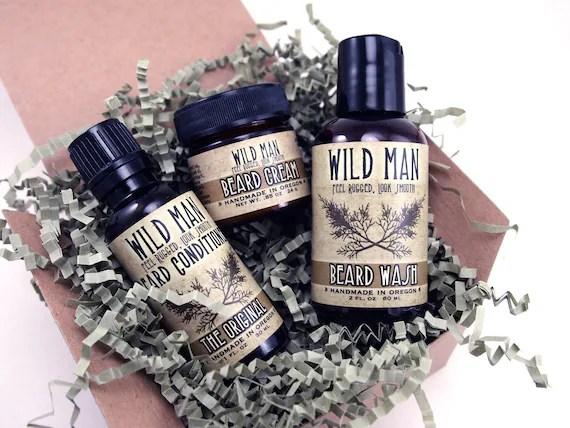 Man Gift Set Beard Conditioner Wash Cream Wild Man Gift Basket Box