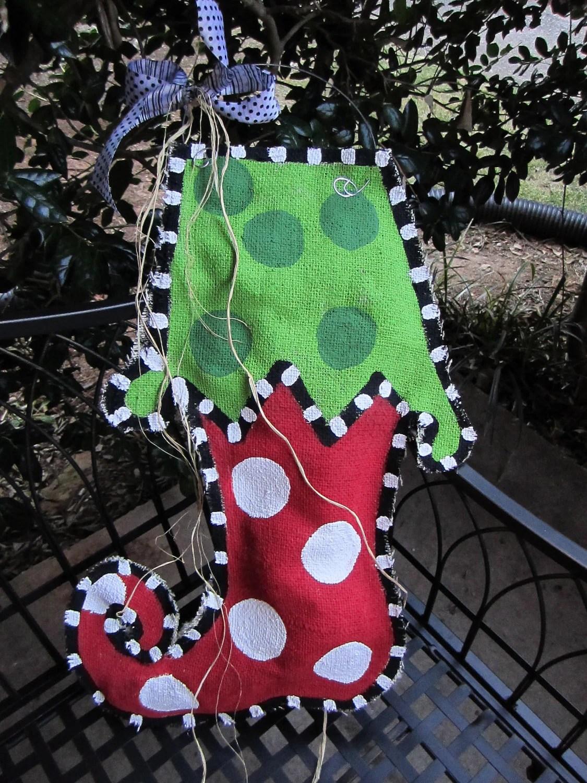 Christmas Stocking Burlap Door Hanger By Nursejeanneg On Etsy