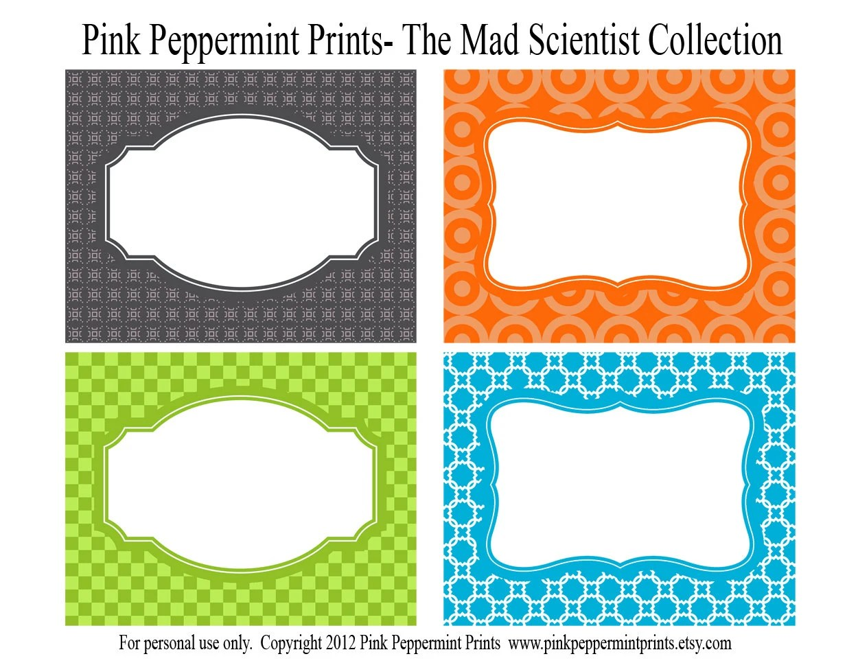New Instant Download Printable Party Labels The Scientist