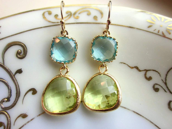 Peridot Earrings Aquamarine Gold Plated - Bridesmaid Earrings - Wedding Earrings - Christmas Gift