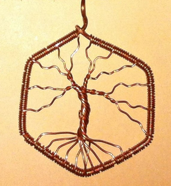 Settlers of Catan Wood Forest Hex Wire Wrapped Pendant
