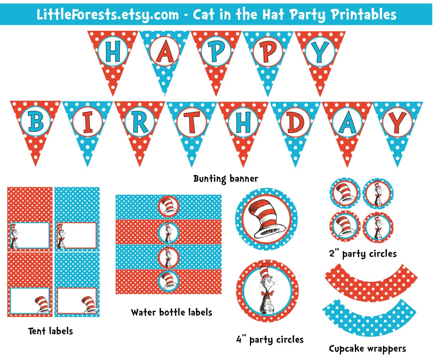Dr Seuss Cat In The Hat Party Printable By Thedapperfoxdesigns