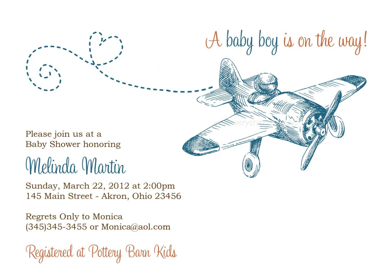 Airplane Baby Shower Invitations