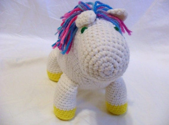 Stuffed Toy Horse, White Pony Doll, Amigurumi Plush, Rainbow Haired Horse, Kawaii Animal Toy, Childrens Nursery Pony/Phoebe the Pony