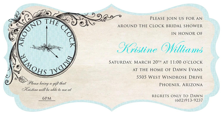 Christmas Around Clock Wedding Shower Invitations