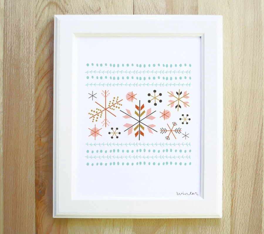 winter art print 8 x 10 snow flakes pattern and tribal print illustration in spring colors with white background - littlelow