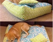 Custom Dog Bed - Available in 18 different fabric combinations - GibbonsRibbons