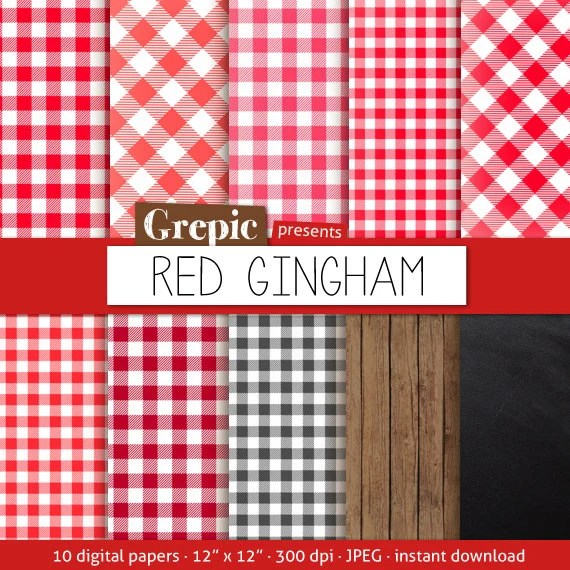 Red Gingham Digital Paper Red Gingham With Picnick Table Cloth