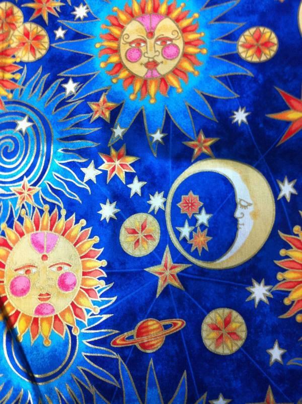 Celestial Sun Moon Stars Planet Cotton Fabric