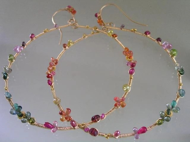 Sunny Rainbow...Happy Colors Sapphires Ruby Emerald Studded Signature Original Gold Filled Large Hoop Earrings - bellajewelsII