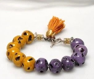 Harvest Color Beads Bracelet, Beaded Bracelet, Purple and Mustard Volcanic Beads with Mustard Tassel - ArzuMusa