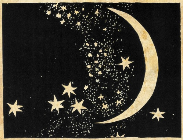 Moon and Stars Art Print Elegant Paper Cut Night Sky