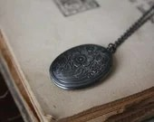 Black Locket Necklace - Into The Dark Forest - spacepearls