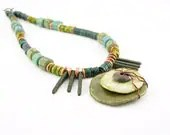 necklace ceramic and silver sage olive green teal lime copper wire wrapped spikes modern tribal southwestern unisex - PiaBarileJewelry