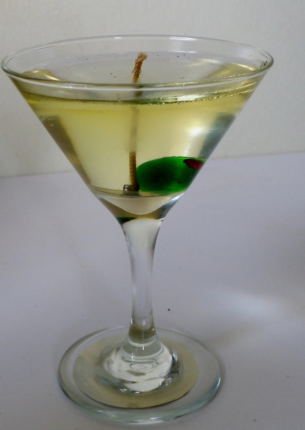 Items Similar To Martini W Glass Olive Candle Wedding