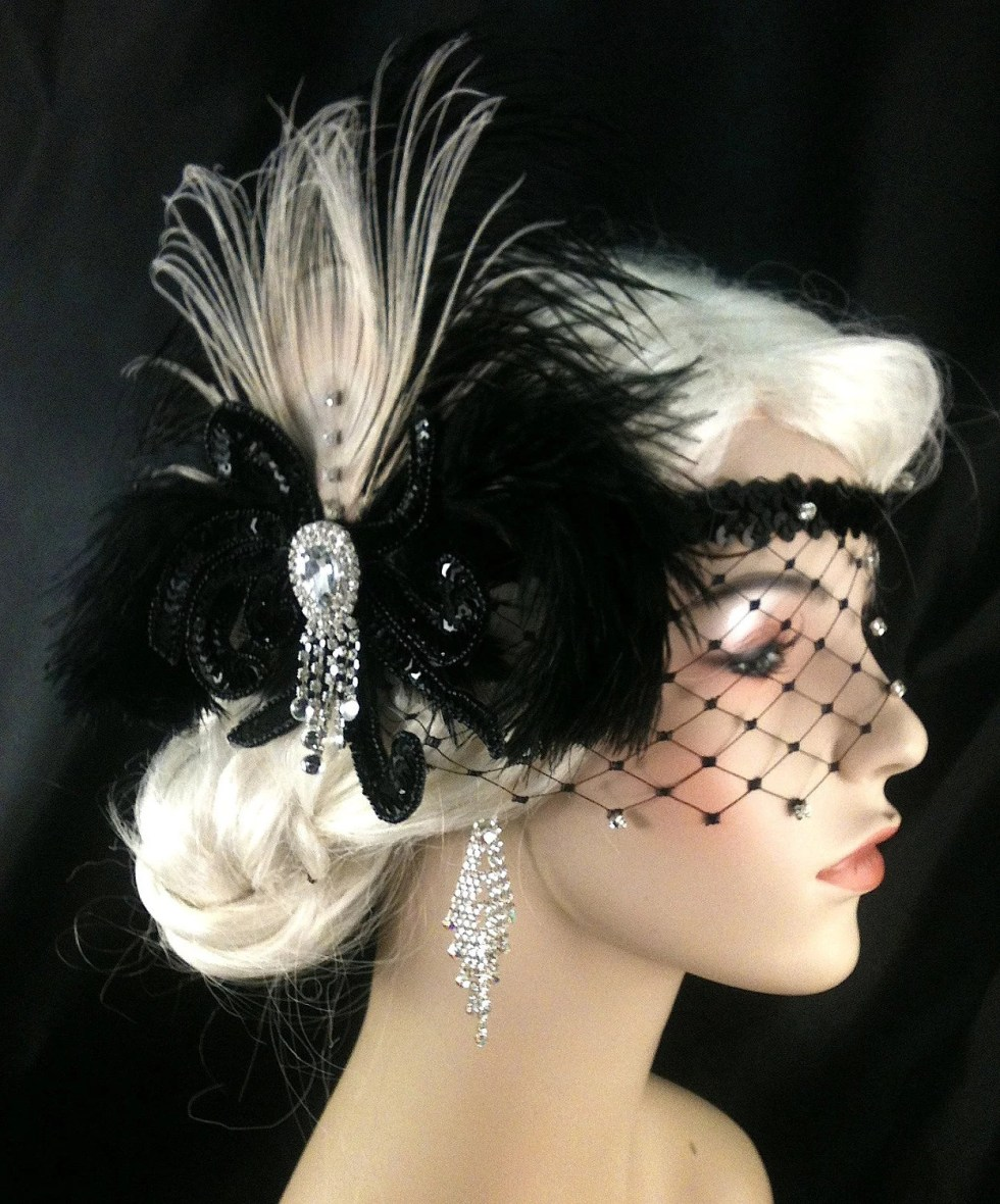 Gatsby Headband, Flapper Headband, Downton, Abbey, 1920s Head Piece, Art Deco Headband, Rhinestone Veil/Mask, Black Headband