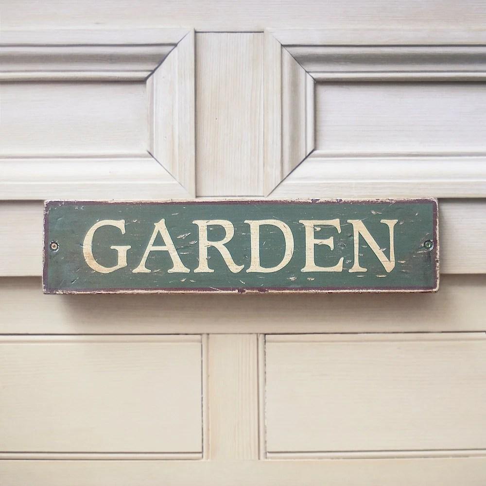 Garden Sign In Hunter Green & Walnut - UtopiaHomeAndGarden