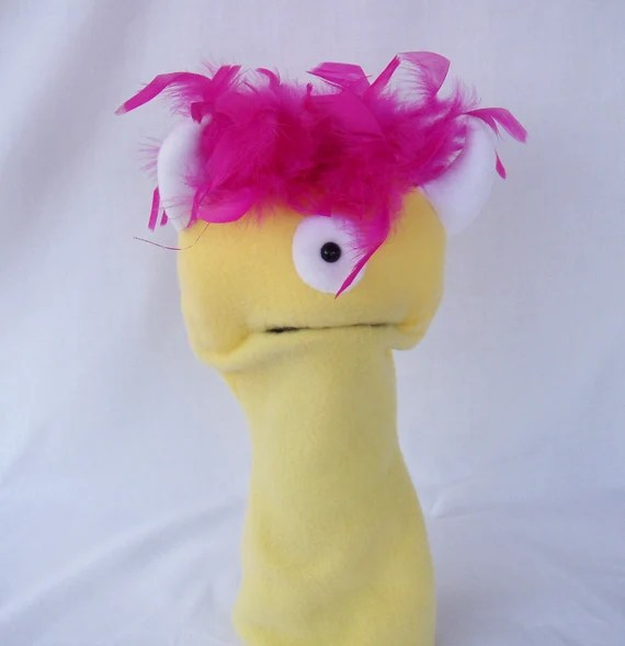Yellow Hand Puppet Large Moving Mouth One Eyed Monster