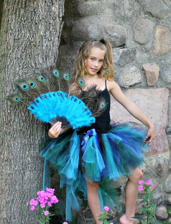"Peacock Bustle Style Tulle Tutu with ""Tail"" for Girls 6 - 10 yrs up to a 27"" Waist Measurement - sweethearttutus"