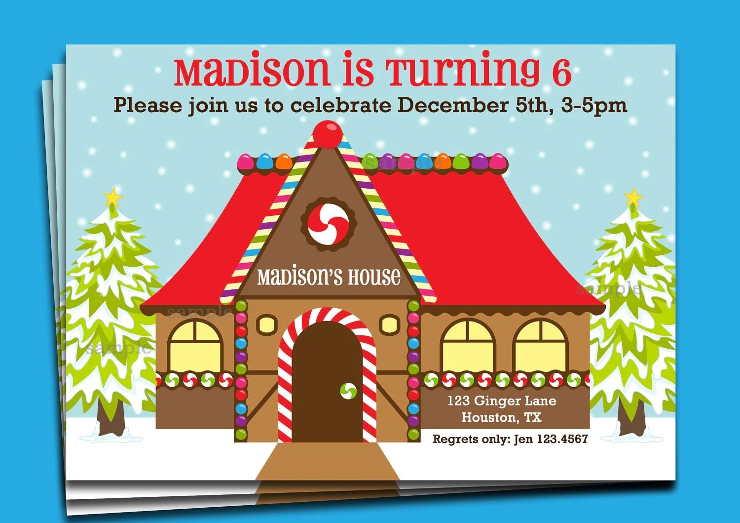 Gingerbread House Invitation Printable Or Printed With Free