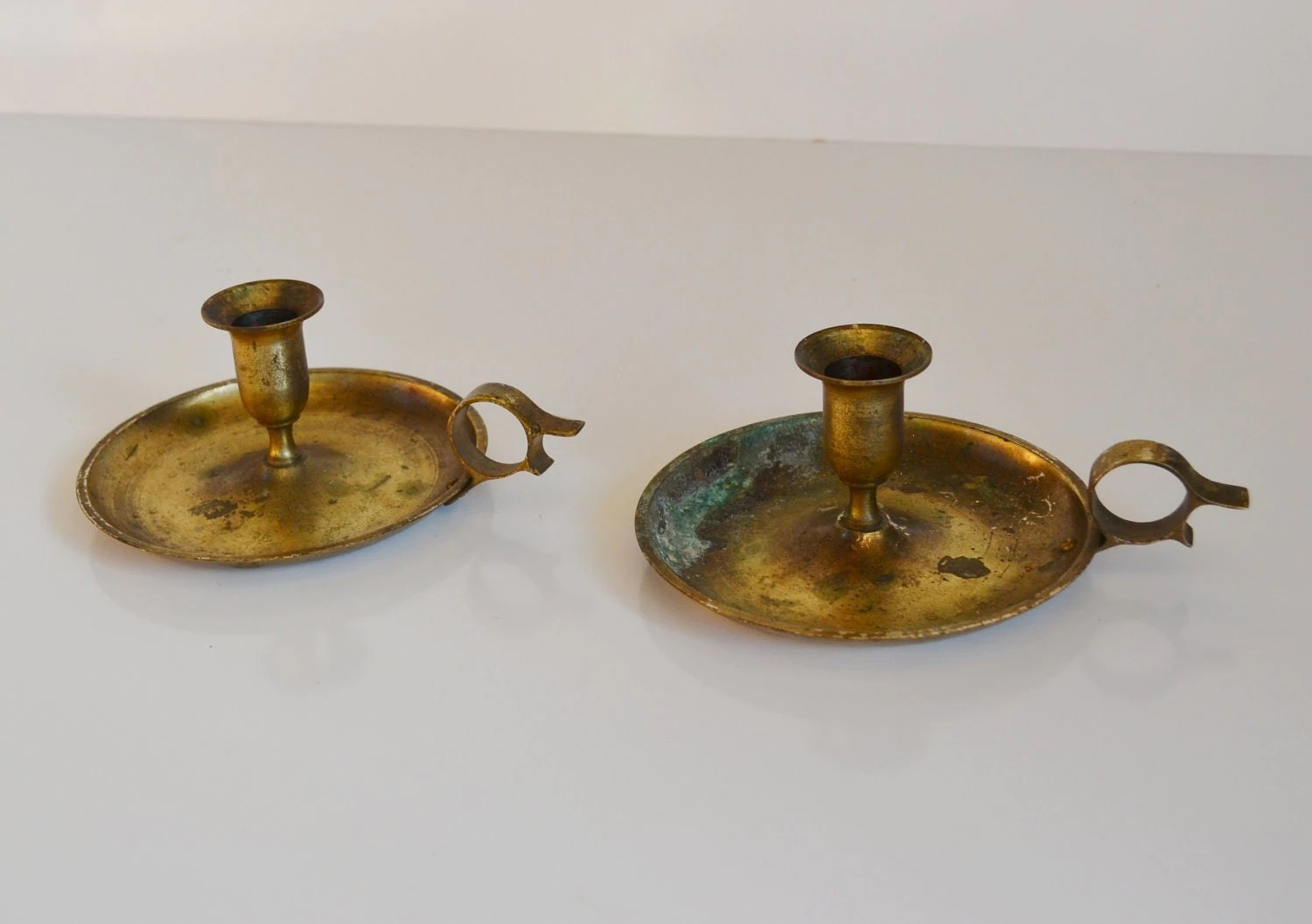 Vintage Chamber Style Solid Brass Candle Holders with Handle on Antique Style Candle Holder Sconces id=27479