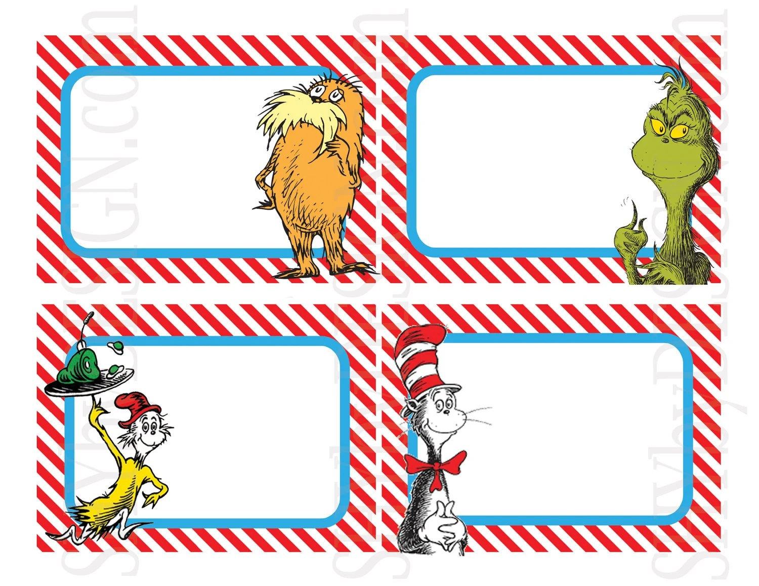 Set Of 12 Printable Dr Seuss Name Tags By Shydesign On Etsy