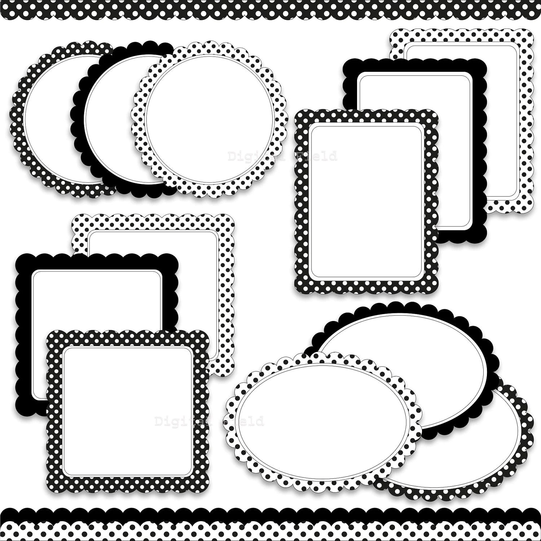 Digital Scalloped Labels Frames And Borders Clip Art Set
