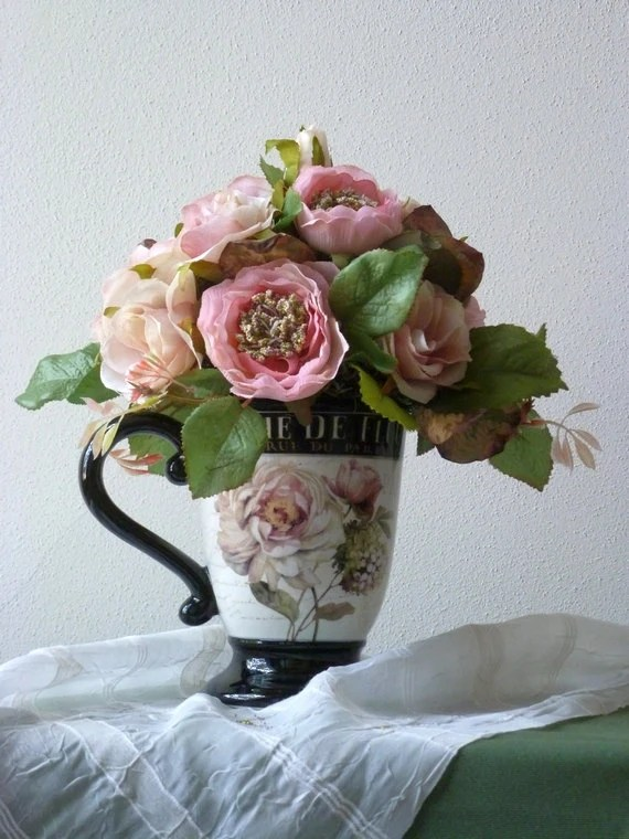 French Country Floral Design In Mug Silk Flowers Wild Roses