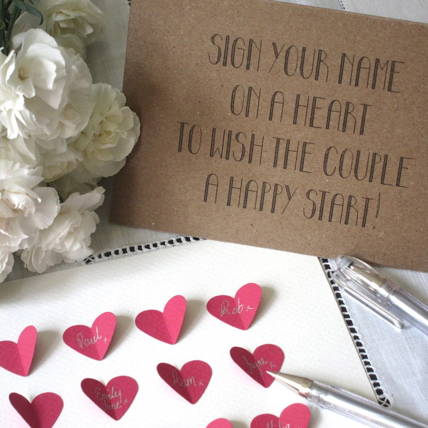Wedding Guestbook Alternative - Personalised Love Hearts- SMALL- Hot Pink/White