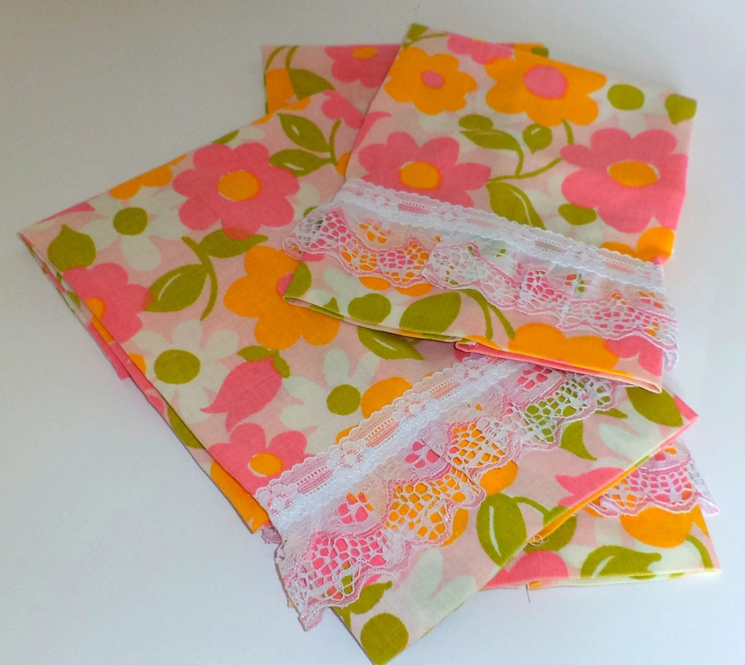 Handmade Floral Guest  Towels from vintage fabric. Pink and yellow set of 3 - BeaSewn