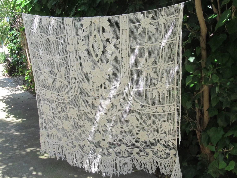 Crochet Curtain French Filet Crochet Lace Panel Antique