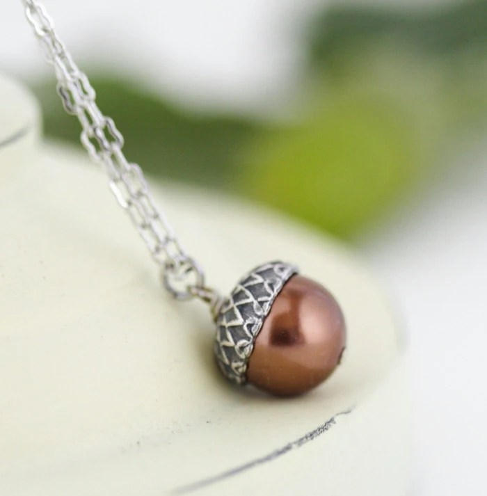 Acorn Necklace - Antique Silver and Rich Bronze Pearls - For the Nature Lover - Free Shipping