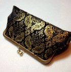 SALE - Was 42.00 - Black and Gold Paisley Clutch - girlbyAileen