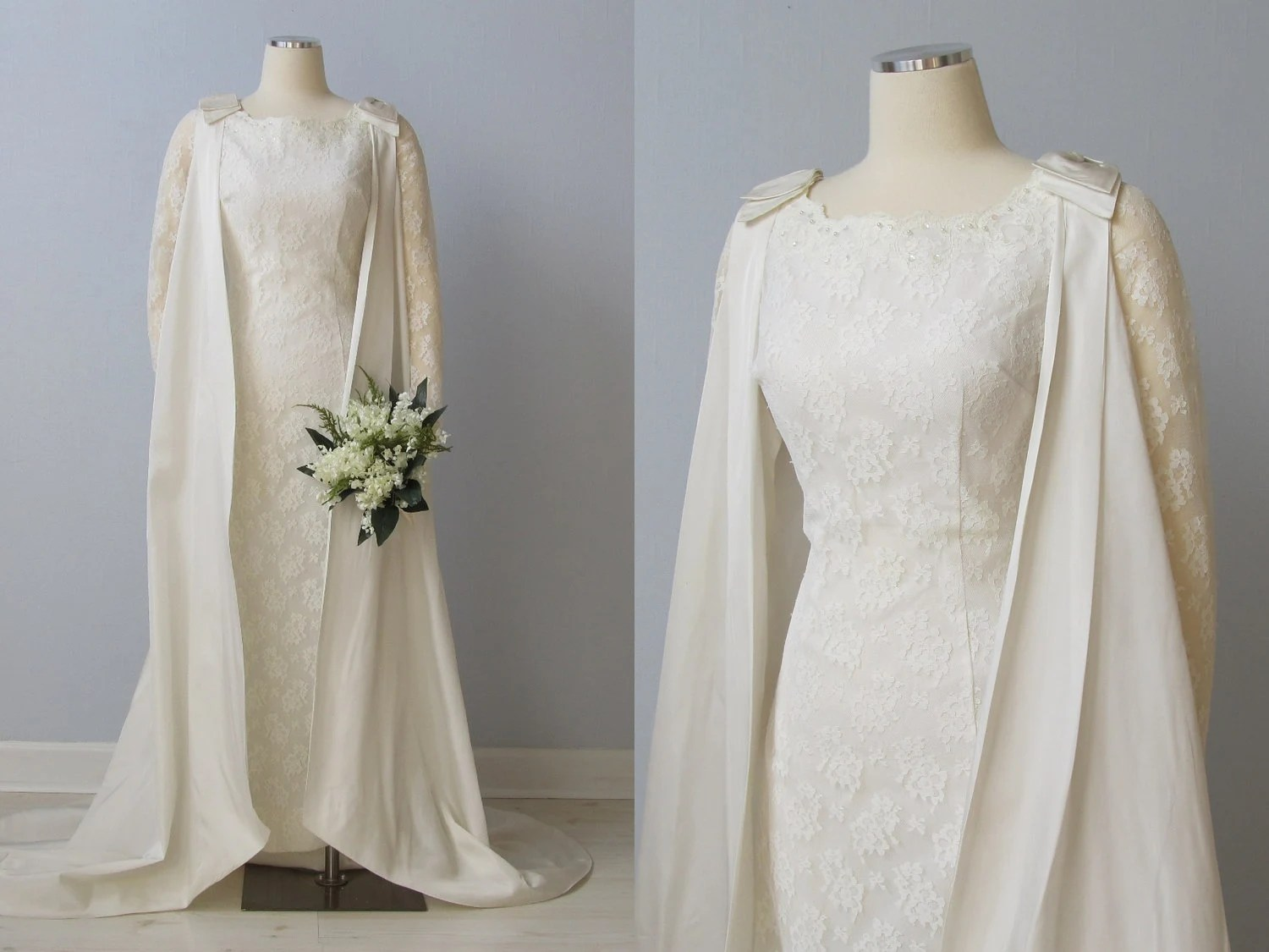RESERVED 1960s Wedding Dress / 60s Bridal Gown / Removable