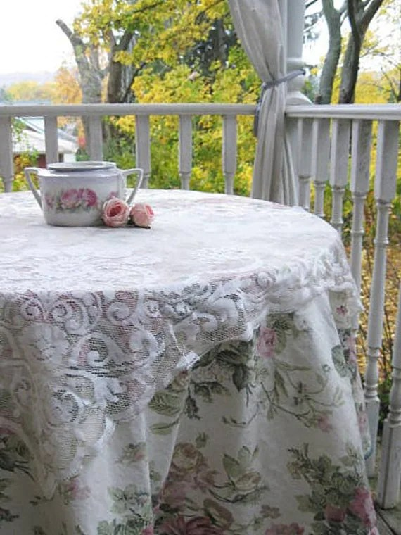 SALE Tablecloth Shabby Chic Tablecloth Roses Chintz